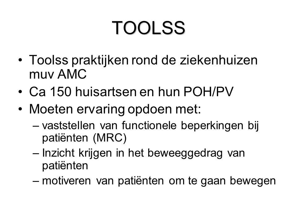 TOOLSS Toolss praktijken rond de ziekenhuizen muv AMC Ca 150 huisartsen en hun POH/PV Moeten ervaring opdoen met: –vaststellen van functionele beperkingen bij patiënten (MRC) –Inzicht krijgen in het beweeggedrag van patiënten –motiveren van patiënten om te gaan bewegen
