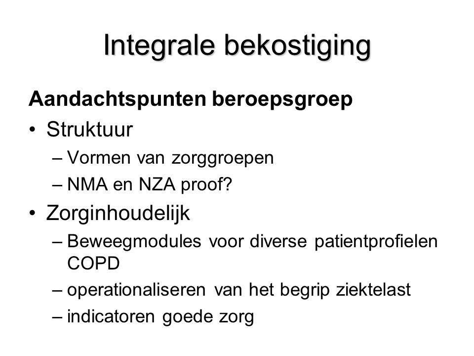 Integrale bekostiging Aandachtspunten beroepsgroep Struktuur –Vormen van zorggroepen –NMA en NZA proof.