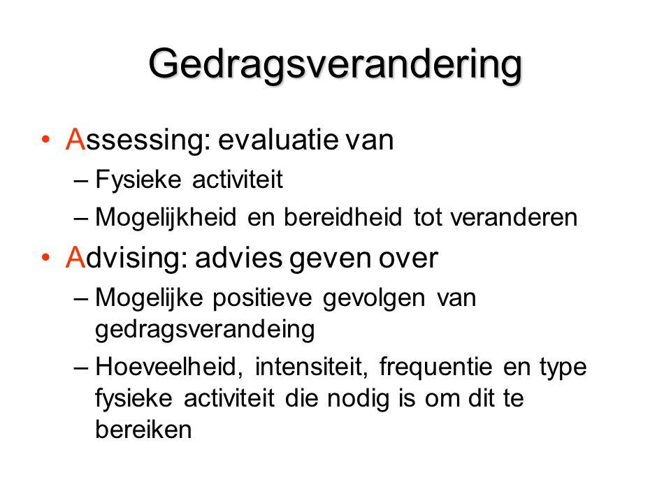 Gedragsverandering Assessing: evaluatie van –Fysieke activiteit –Mogelijkheid en bereidheid tot veranderen Advising: advies geven over –Mogelijke posi