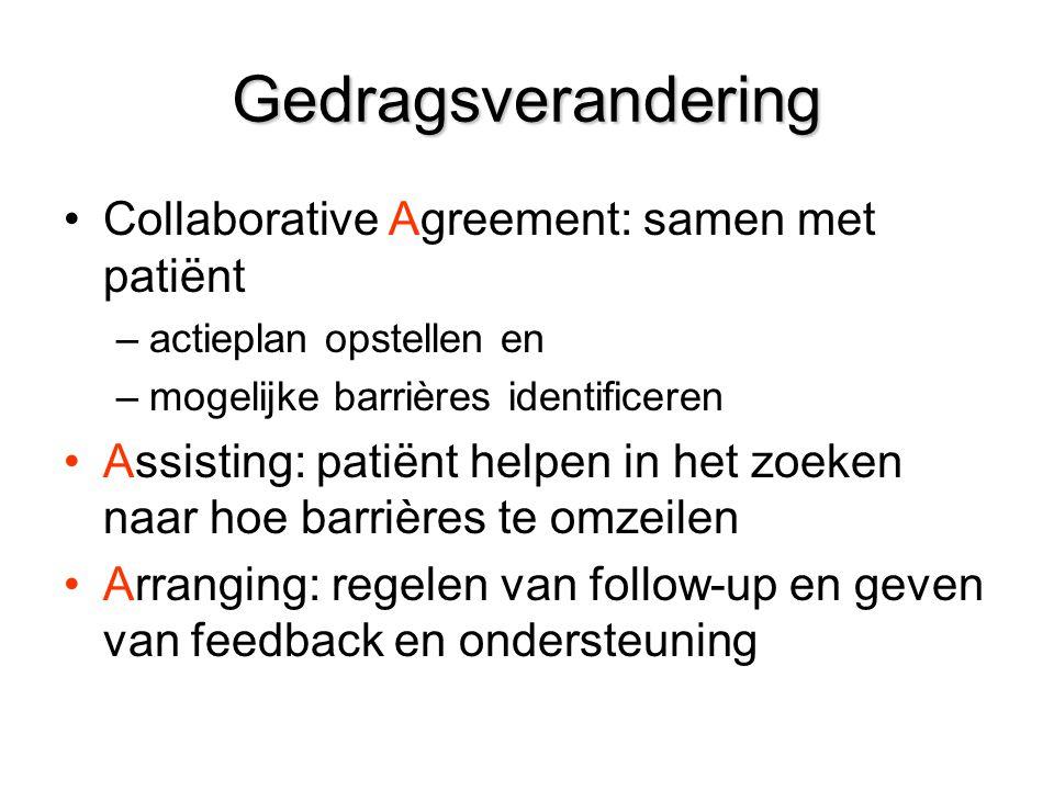 Gedragsverandering Collaborative Agreement: samen met patiënt –actieplan opstellen en –mogelijke barrières identificeren Assisting: patiënt helpen in het zoeken naar hoe barrières te omzeilen Arranging: regelen van follow-up en geven van feedback en ondersteuning