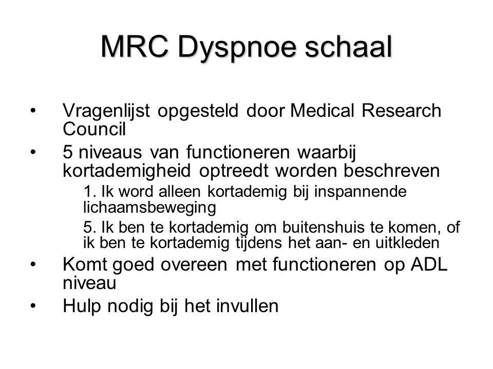 MRC Dyspnoe schaal Vragenlijst opgesteld door Medical Research Council 5 niveaus van functioneren waarbij kortademigheid optreedt worden beschreven 1.