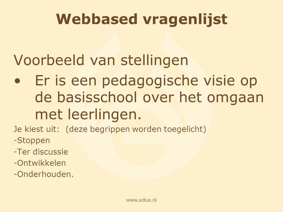 www.edux.nl Webbased vragenlijst Voorbeeld van stellingen Er is een pedagogische visie op de basisschool over het omgaan met leerlingen. Je kiest uit: