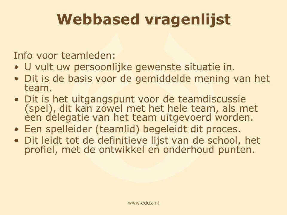 www.edux.nl Webbased vragenlijst Info voor teamleden: U vult uw persoonlijke gewenste situatie in. Dit is de basis voor de gemiddelde mening van het t