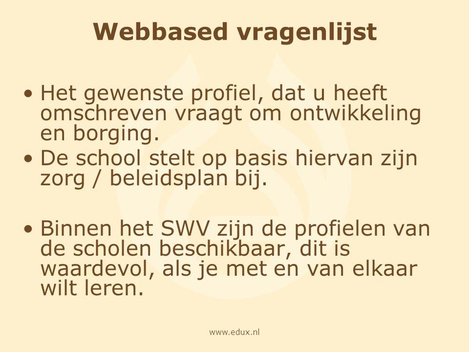 www.edux.nl Webbased vragenlijst Het gewenste profiel, dat u heeft omschreven vraagt om ontwikkeling en borging. De school stelt op basis hiervan zijn