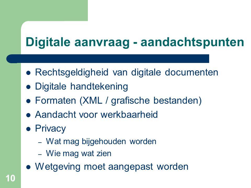 10 Digitale aanvraag - aandachtspunten Rechtsgeldigheid van digitale documenten Digitale handtekening Formaten (XML / grafische bestanden) Aandacht voor werkbaarheid Privacy – Wat mag bijgehouden worden – Wie mag wat zien Wetgeving moet aangepast worden