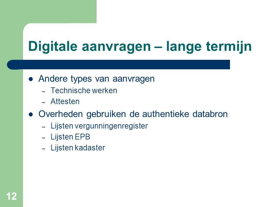 12 Digitale aanvragen – lange termijn Andere types van aanvragen – Technische werken – Attesten Overheden gebruiken de authentieke databron – Lijsten vergunningenregister – Lijsten EPB – Lijsten kadaster