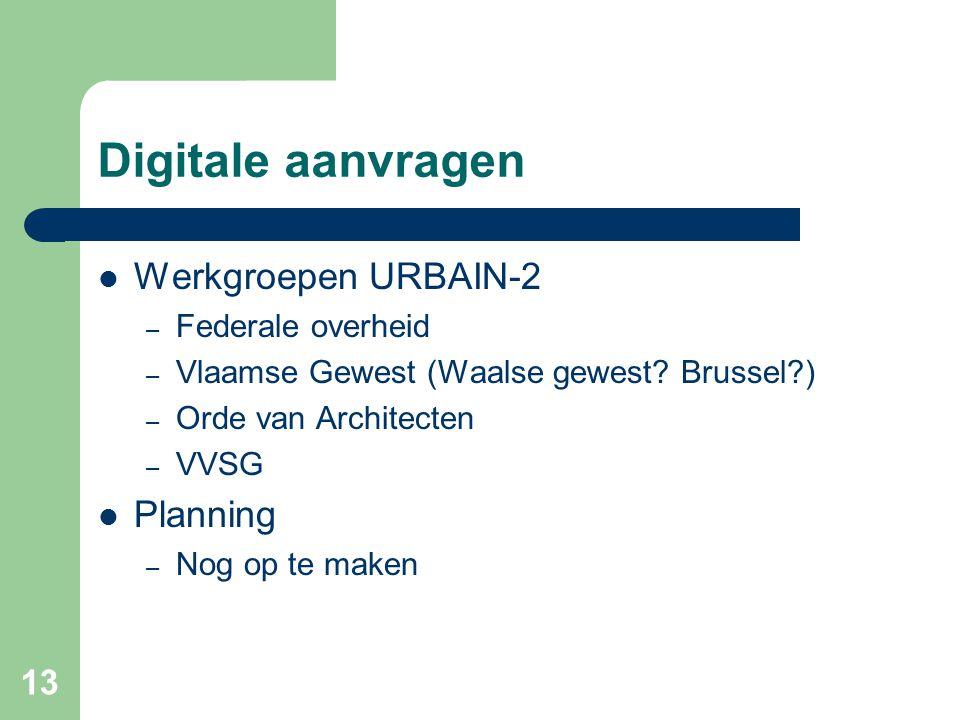 13 Digitale aanvragen Werkgroepen URBAIN-2 – Federale overheid – Vlaamse Gewest (Waalse gewest.