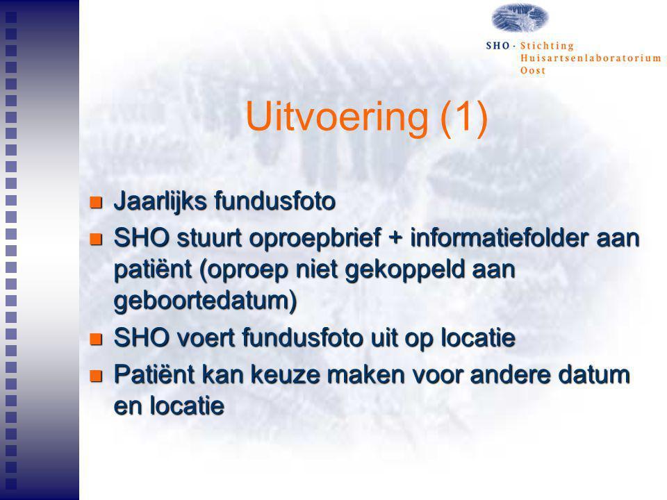 Uitvoering (1) Jaarlijks fundusfoto Jaarlijks fundusfoto SHO stuurt oproepbrief + informatiefolder aan patiënt (oproep niet gekoppeld aan geboortedatu