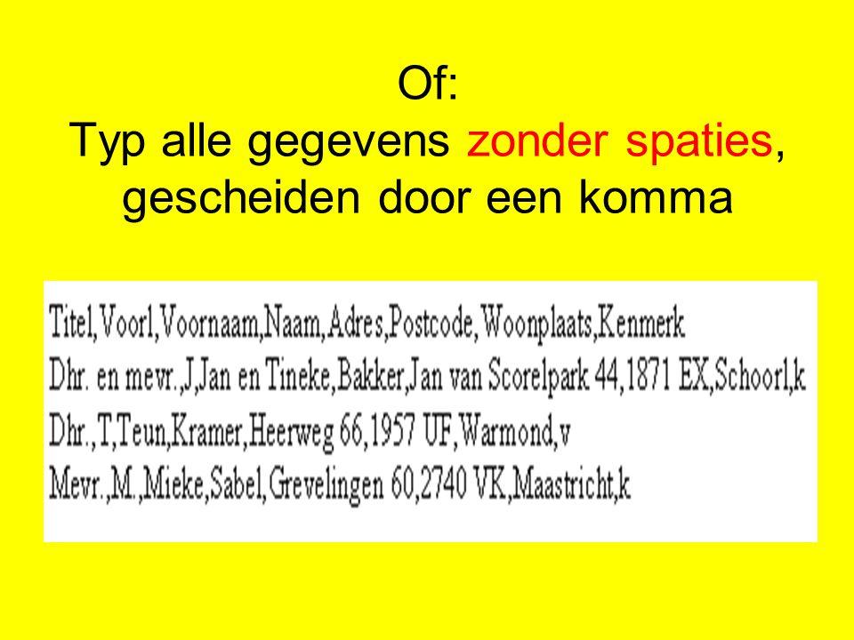 Klik op: Uw brief schrijven Klik op: de plaats in de brief waar het adres moet komen Klik op: Adresblok Klik op: Velden vergelijken Selecteer de velden Klik op: OK, OK