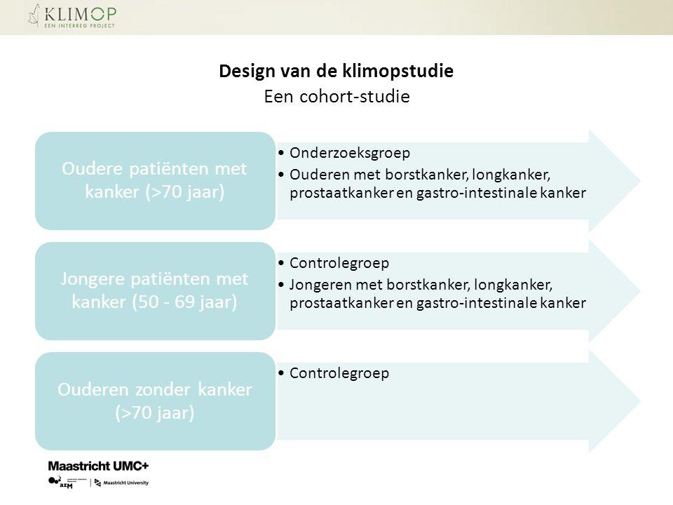 Design van de klimopstudie Een cohort-studie Onderzoeksgroep Ouderen met borstkanker, longkanker, prostaatkanker en gastro-intestinale kanker Oudere p