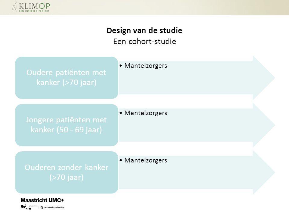 Design van de studie Een cohort-studie Mantelzorgers Oudere patiënten met kanker (>70 jaar) Mantelzorgers Jongere patiënten met kanker (50 - 69 jaar)