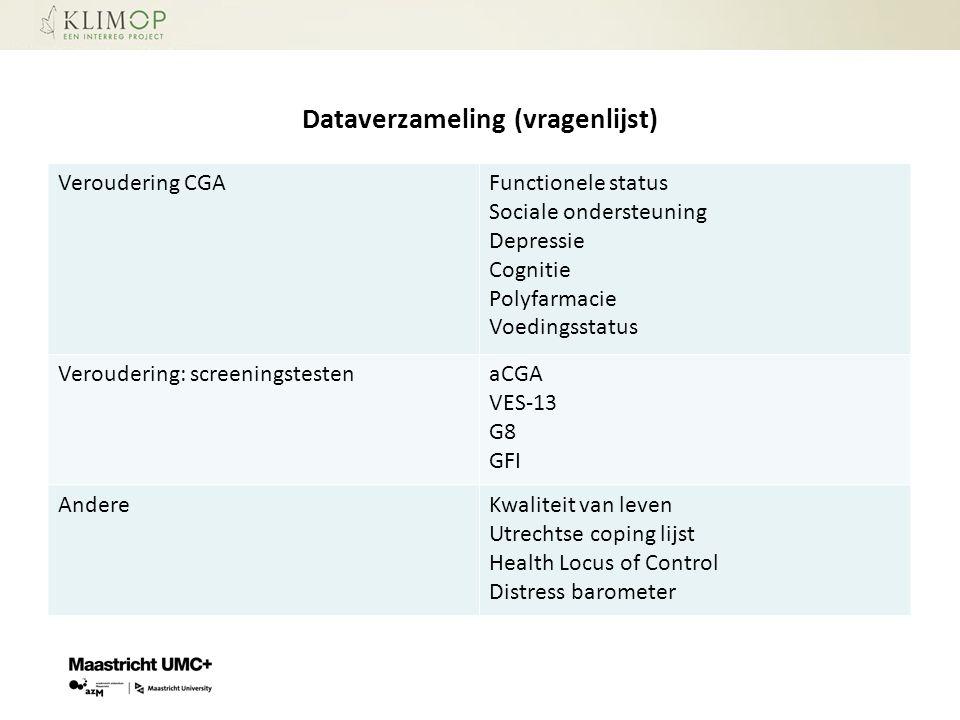 Dataverzameling (vragenlijst) Veroudering CGAFunctionele status Sociale ondersteuning Depressie Cognitie Polyfarmacie Voedingsstatus Veroudering: scre