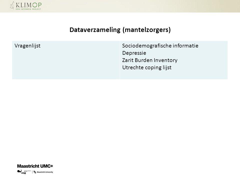 Dataverzameling (mantelzorgers) VragenlijstSociodemografische informatie Depressie Zarit Burden Inventory Utrechte coping lijst