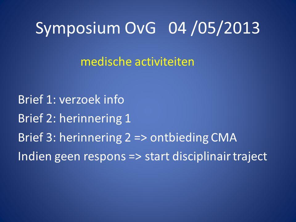 Symposium OvG 04 /05/2013 medische activiteiten Brief 1: verzoek info Brief 2: herinnering 1 Brief 3: herinnering 2 => ontbieding CMA Indien geen respons => start disciplinair traject