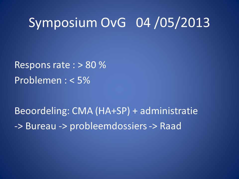 Symposium OvG 04 /05/2013 De geneesheer zal zijn praktijk bij voorkeur op één plaats uitoefenen. Code.