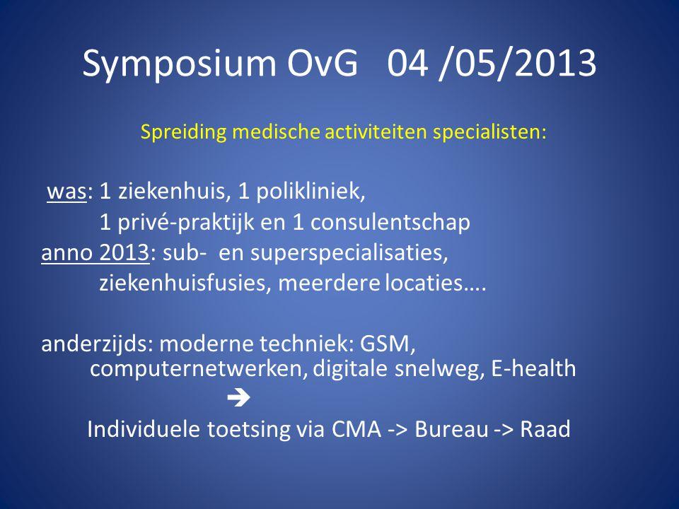 Symposium OvG 04 /05/2013 Spreiding medische activiteiten specialisten: was: 1 ziekenhuis, 1 polikliniek, 1 privé-praktijk en 1 consulentschap anno 2013: sub- en superspecialisaties, ziekenhuisfusies, meerdere locaties….