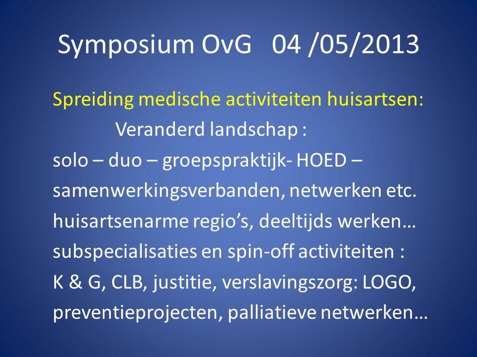 Symposium OvG 04 /05/2013 Spreiding medische activiteiten huisartsen: -> individuele beoordeling via CMA/OvG -> belang van goede contracten en afspraken -> inspraak /akkoord van de lokale HA-kring .