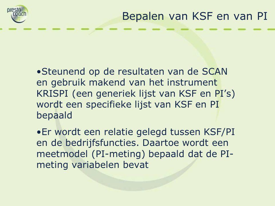 Bepalen van KSF en van PI Steunend op de resultaten van de SCAN en gebruik makend van het instrument KRISPI (een generiek lijst van KSF en PI's) wordt