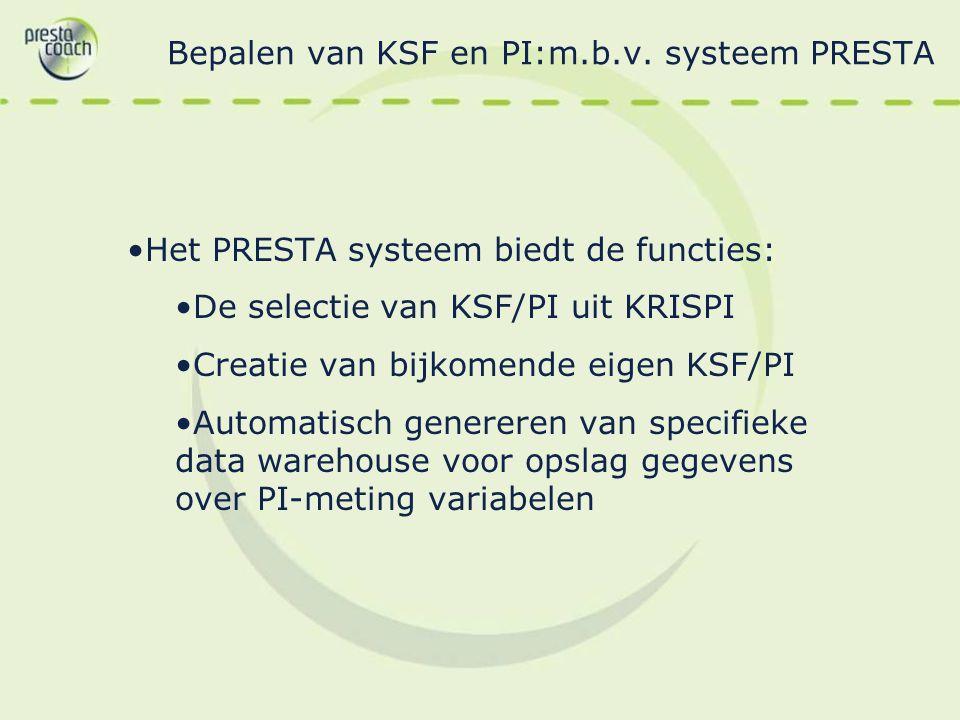 Bepalen van KSF en PI:m.b.v. systeem PRESTA Het PRESTA systeem biedt de functies: De selectie van KSF/PI uit KRISPI Creatie van bijkomende eigen KSF/P