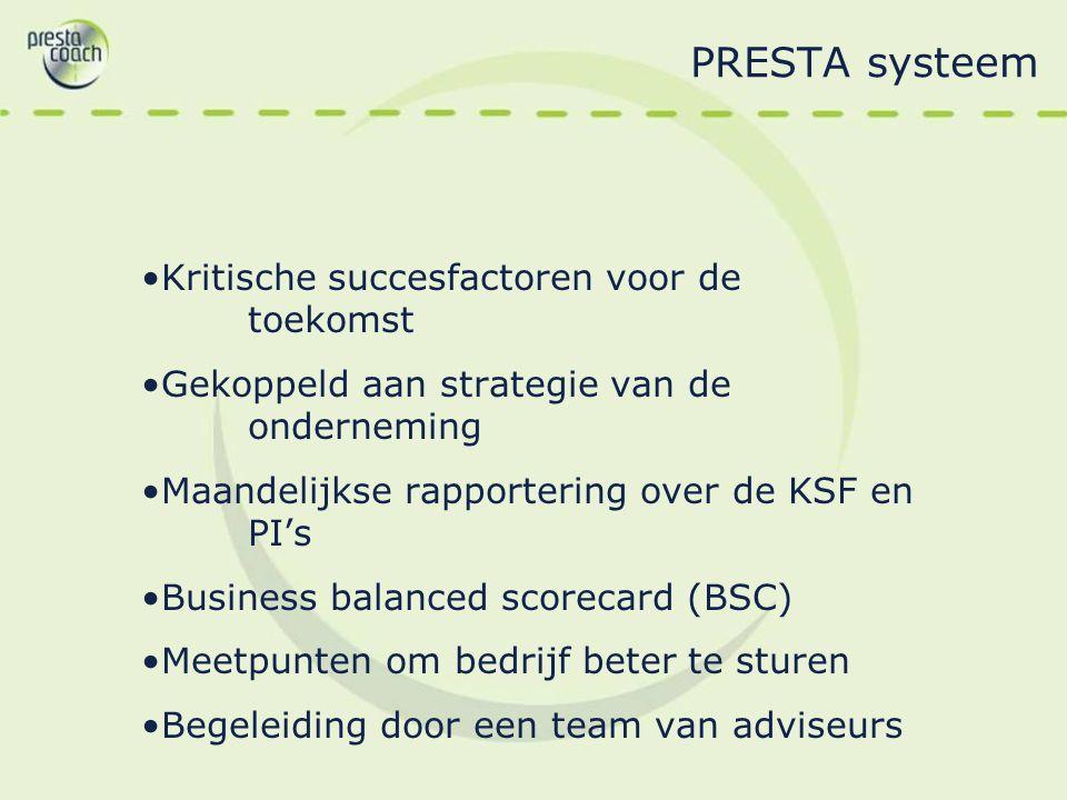 PRESTA systeem Kritische succesfactoren voor de toekomst Gekoppeld aan strategie van de onderneming Maandelijkse rapportering over de KSF en PI's Busi