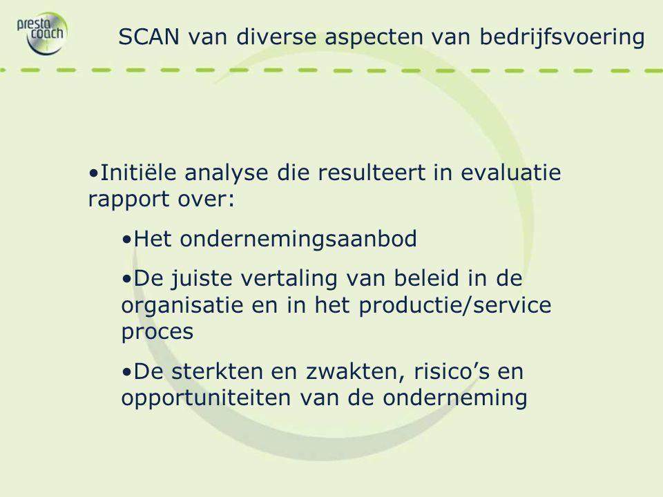 SCAN van diverse aspecten van bedrijfsvoering Initiële analyse die resulteert in evaluatie rapport over: Het ondernemingsaanbod De juiste vertaling va