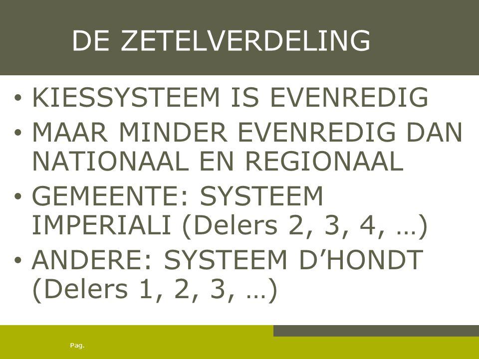 Pag. DE ZETELVERDELING KIESSYSTEEM IS EVENREDIG MAAR MINDER EVENREDIG DAN NATIONAAL EN REGIONAAL GEMEENTE: SYSTEEM IMPERIALI (Delers 2, 3, 4, …) ANDER