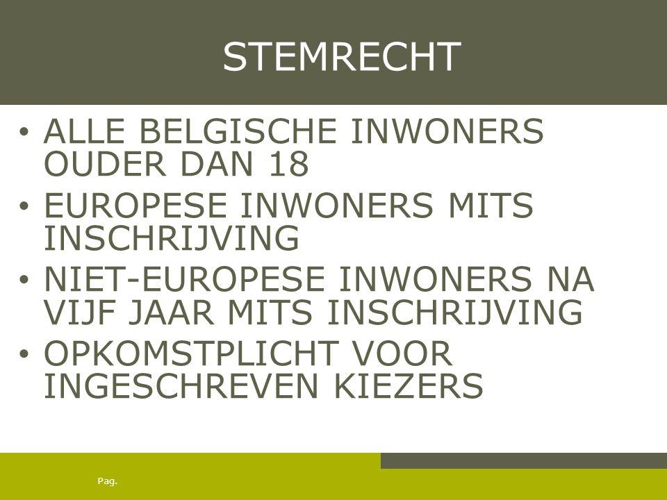 Pag. STEMRECHT ALLE BELGISCHE INWONERS OUDER DAN 18 EUROPESE INWONERS MITS INSCHRIJVING NIET-EUROPESE INWONERS NA VIJF JAAR MITS INSCHRIJVING OPKOMSTP