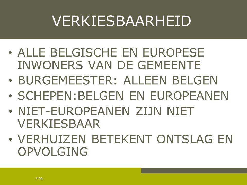 Pag. VERKIESBAARHEID ALLE BELGISCHE EN EUROPESE INWONERS VAN DE GEMEENTE BURGEMEESTER: ALLEEN BELGEN SCHEPEN:BELGEN EN EUROPEANEN NIET-EUROPEANEN ZIJN
