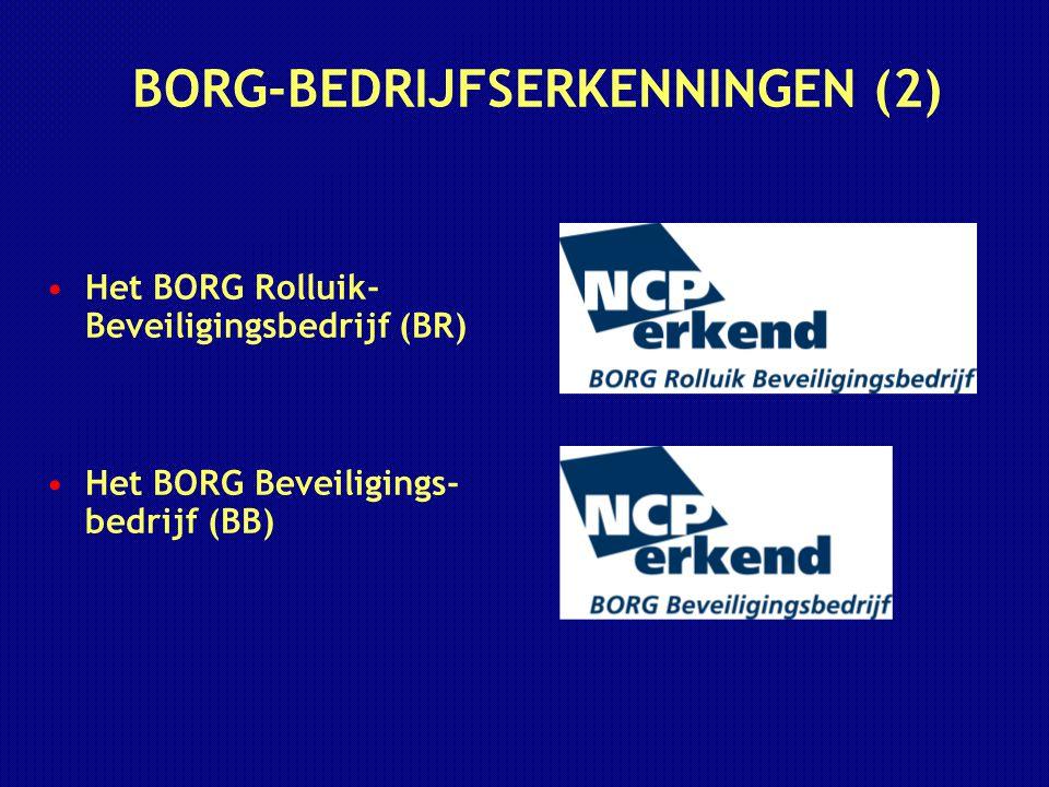 BORG-BEDRIJFSERKENNINGEN (2) Het BORG Rolluik- Beveiligingsbedrijf (BR) Het BORG Beveiligings- bedrijf (BB)