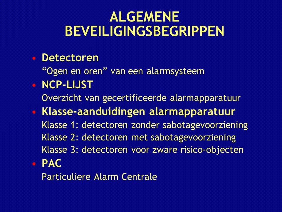 """ALGEMENE BEVEILIGINGSBEGRIPPEN Detectoren """"Ogen en oren"""" van een alarmsysteem NCP-LIJST Overzicht van gecertificeerde alarmapparatuur Klasse-aanduidin"""