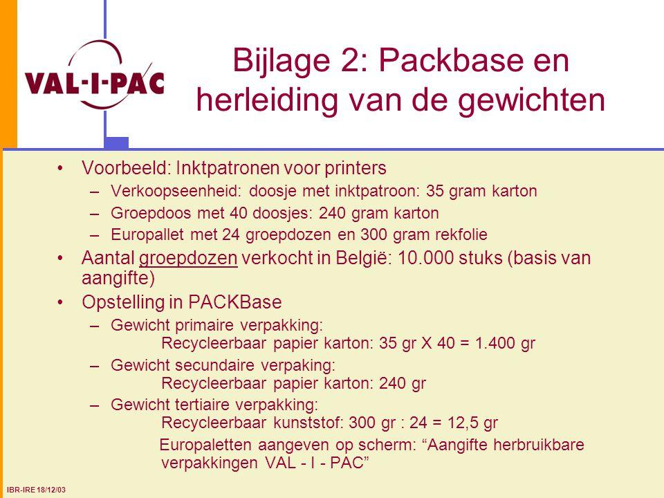 Bijlage 2: Packbase en herleiding van de gewichten Voorbeeld: Inktpatronen voor printers –Verkoopseenheid: doosje met inktpatroon: 35 gram karton –Gro
