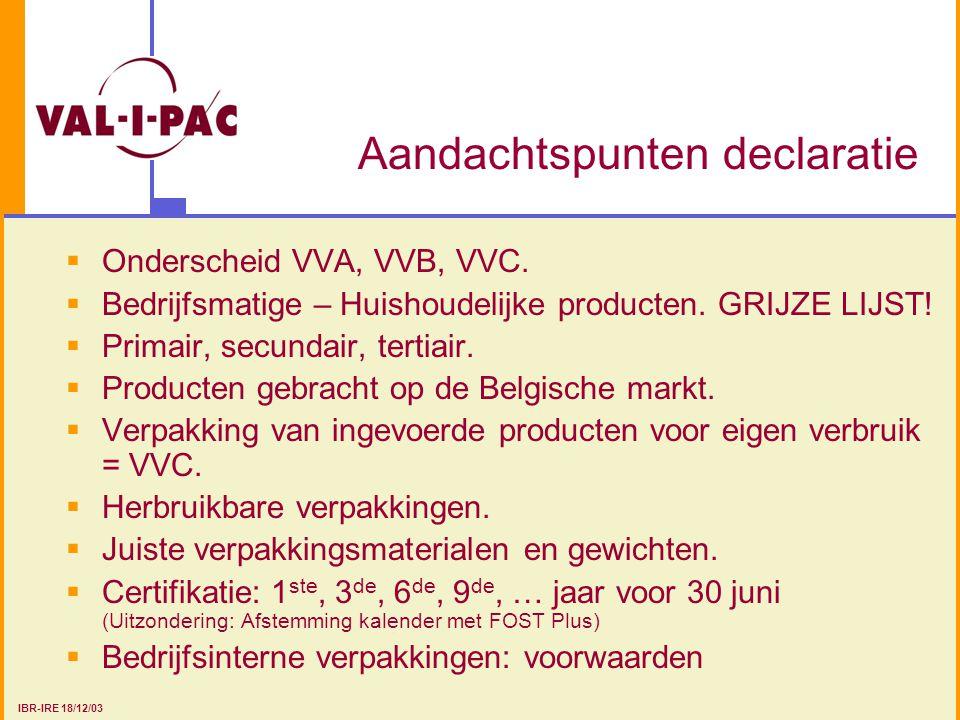 Aandachtspunten declaratie  Onderscheid VVA, VVB, VVC.  Bedrijfsmatige – Huishoudelijke producten. GRIJZE LIJST!  Primair, secundair, tertiair.  P