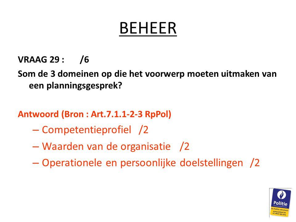 BEHEER VRAAG 29 : /6 Som de 3 domeinen op die het voorwerp moeten uitmaken van een planningsgesprek.