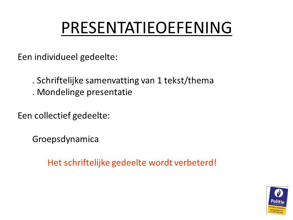 PRESENTATIEOEFENING Een individueel gedeelte:.Schriftelijke samenvatting van 1 tekst/thema.