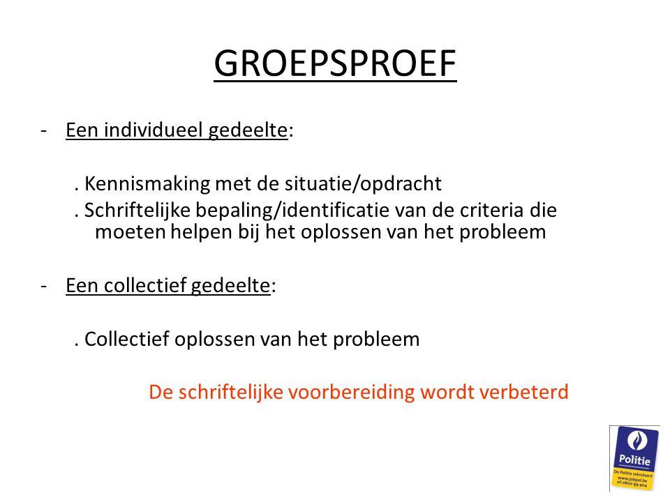 GROEPSPROEF -Een individueel gedeelte:.Kennismaking met de situatie/opdracht.