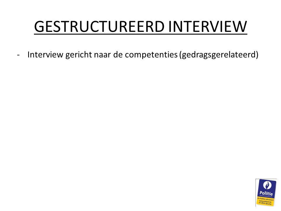 GESTRUCTUREERD INTERVIEW -Interview gericht naar de competenties (gedragsgerelateerd)