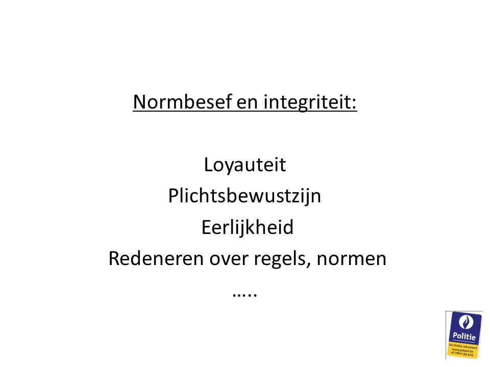 Normbesef en integriteit: Loyauteit Plichtsbewustzijn Eerlijkheid Redeneren over regels, normen …..