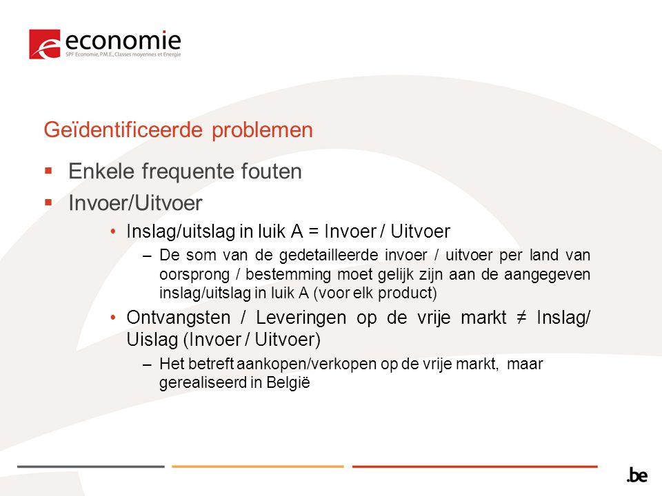  Enkele frequente fouten  Invoer/Uitvoer Inslag/uitslag in luik A = Invoer / Uitvoer –De som van de gedetailleerde invoer / uitvoer per land van oorsprong / bestemming moet gelijk zijn aan de aangegeven inslag/uitslag in luik A (voor elk product) Ontvangsten / Leveringen op de vrije markt ≠ Inslag/ Uislag (Invoer / Uitvoer) –Het betreft aankopen/verkopen op de vrije markt, maar gerealiseerd in België Geïdentificeerde problemen