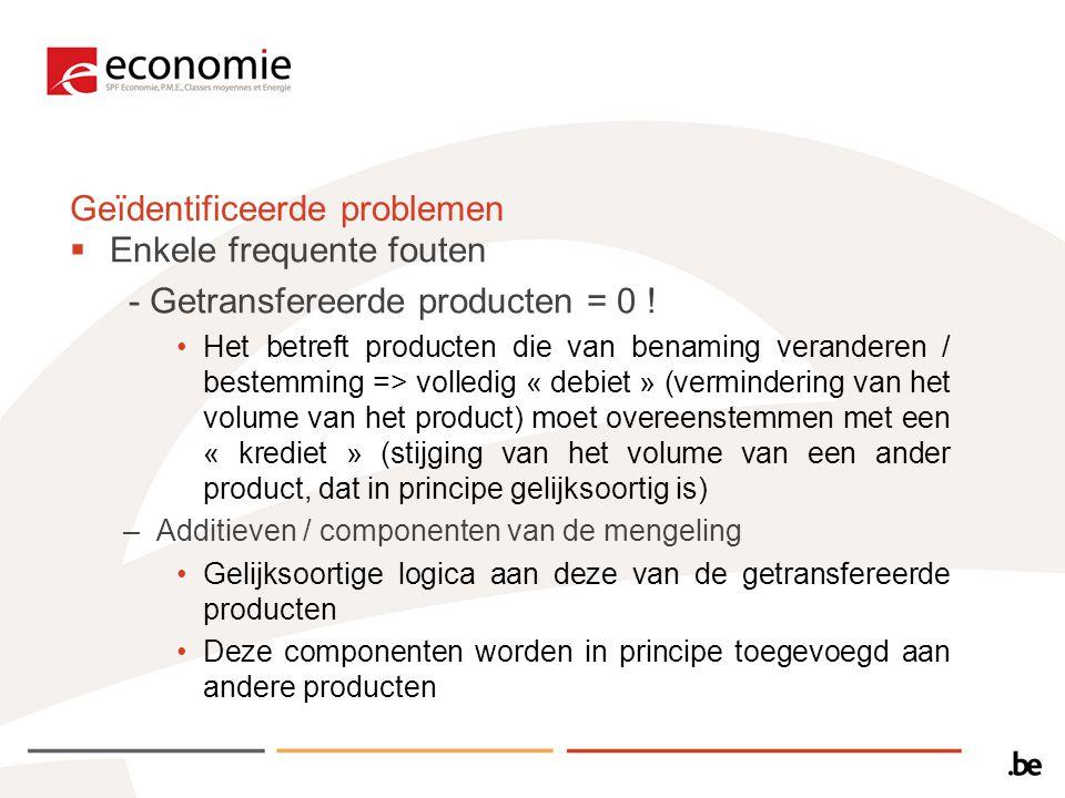  Enkele frequente fouten - Getransfereerde producten = 0 .