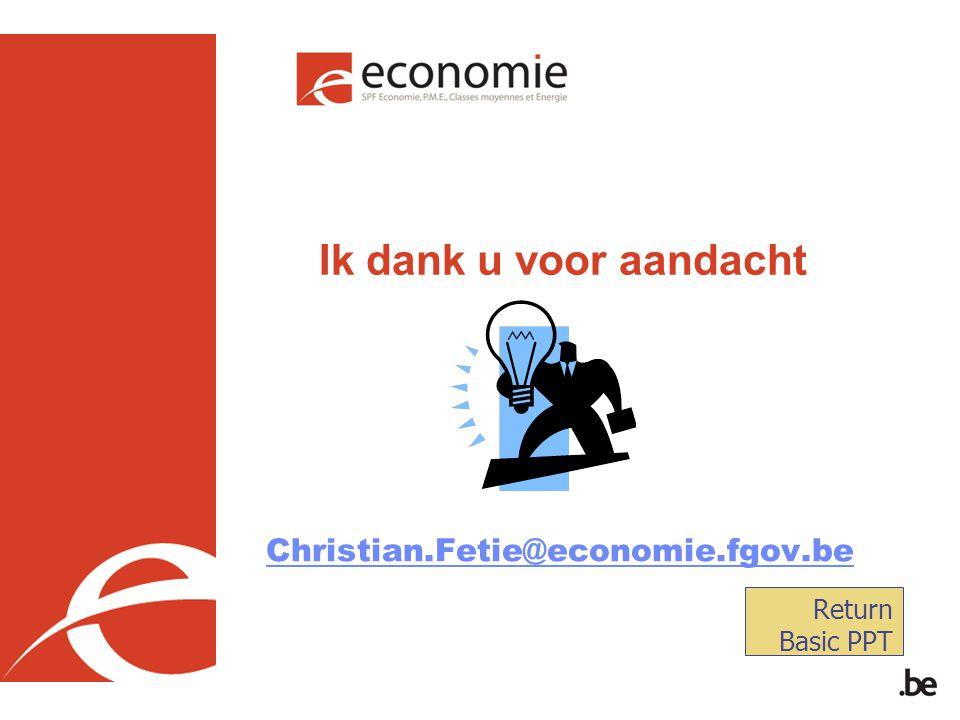 Ik dank u voor aandacht Christian.Fetie@economie.fgov.be Return Basic PPT
