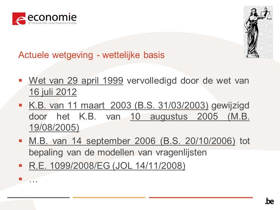 Actuele wetgeving - wettelijke basis  Wet van 29 april 1999 vervolledigd door de wet van 16 juli 2012  K.B.