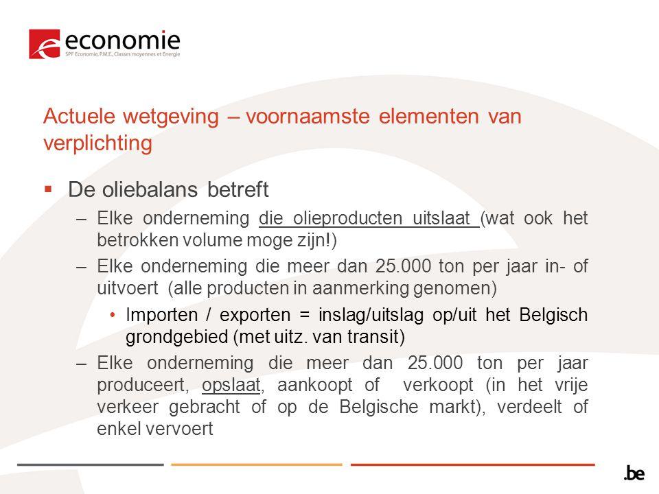 Actuele wetgeving – voornaamste elementen van verplichting  De oliebalans betreft –Elke onderneming die olieproducten uitslaat (wat ook het betrokken volume moge zijn!) –Elke onderneming die meer dan 25.000 ton per jaar in- of uitvoert (alle producten in aanmerking genomen) Importen / exporten = inslag/uitslag op/uit het Belgisch grondgebied (met uitz.