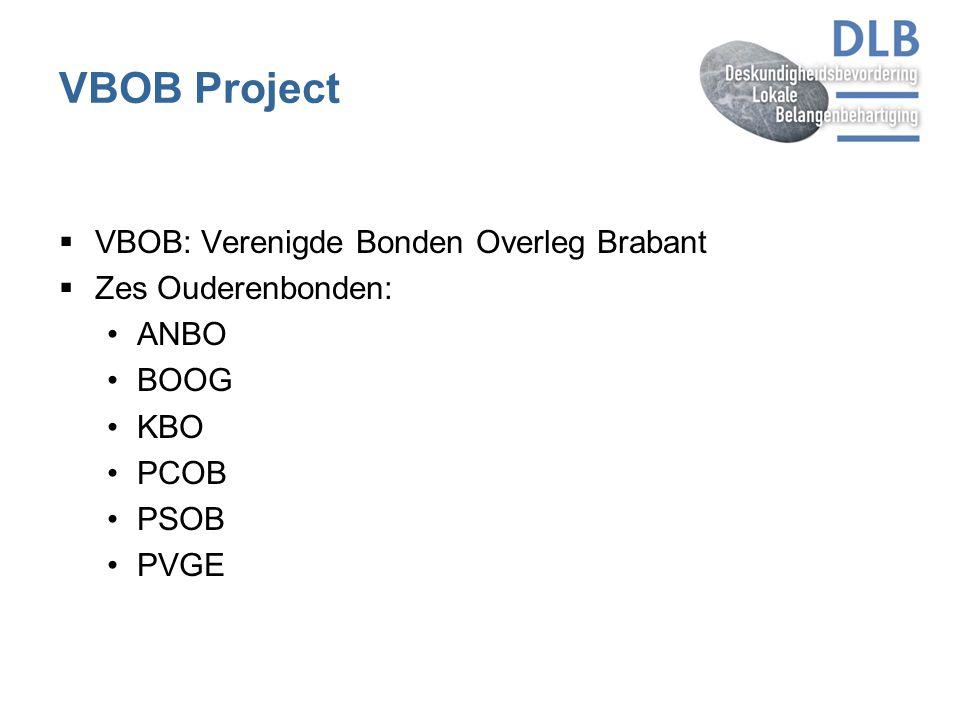 VBOB Project  VBOB: Verenigde Bonden Overleg Brabant  Zes Ouderenbonden: ANBO BOOG KBO PCOB PSOB PVGE