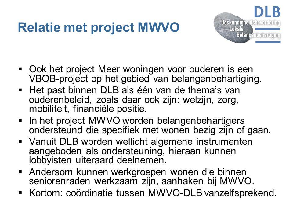 Relatie met project MWVO  Ook het project Meer woningen voor ouderen is een VBOB-project op het gebied van belangenbehartiging.  Het past binnen DLB