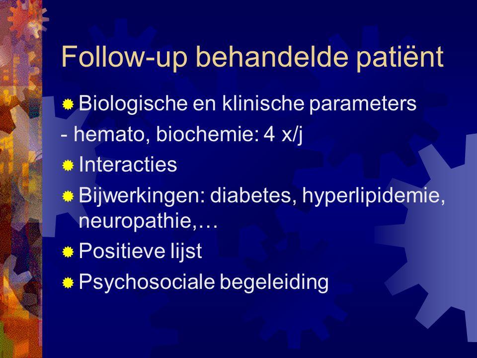 Follow-up behandelde patiënt  Biologische en klinische parameters - hemato, biochemie: 4 x/j  Interacties  Bijwerkingen: diabetes, hyperlipidemie, neuropathie,…  Positieve lijst  Psychosociale begeleiding