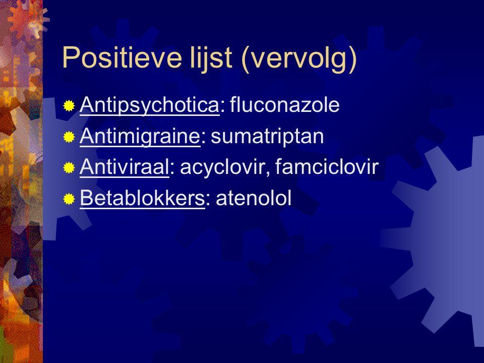 Positieve lijst (vervolg)  Antipsychotica: fluconazole  Antimigraine: sumatriptan  Antiviraal: acyclovir, famciclovir  Betablokkers: atenolol