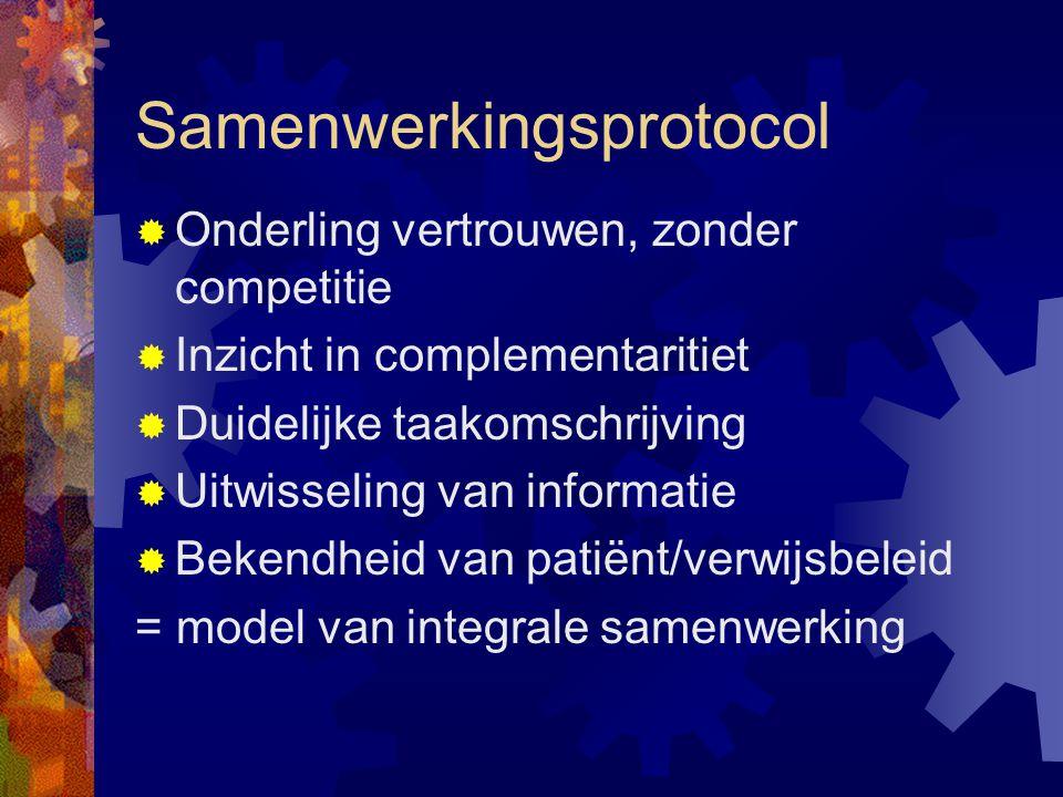 Samenwerkingsprotocol  Onderling vertrouwen, zonder competitie  Inzicht in complementaritiet  Duidelijke taakomschrijving  Uitwisseling van informatie  Bekendheid van patiënt/verwijsbeleid = model van integrale samenwerking
