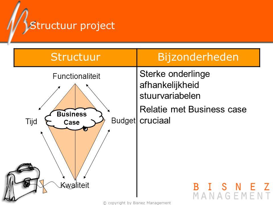 © copyright by Bisnez Management Structuur project Functionaliteit Budget Tijd Kwaliteit Business Case StructuurBijzonderheden Sterke onderlinge afhan