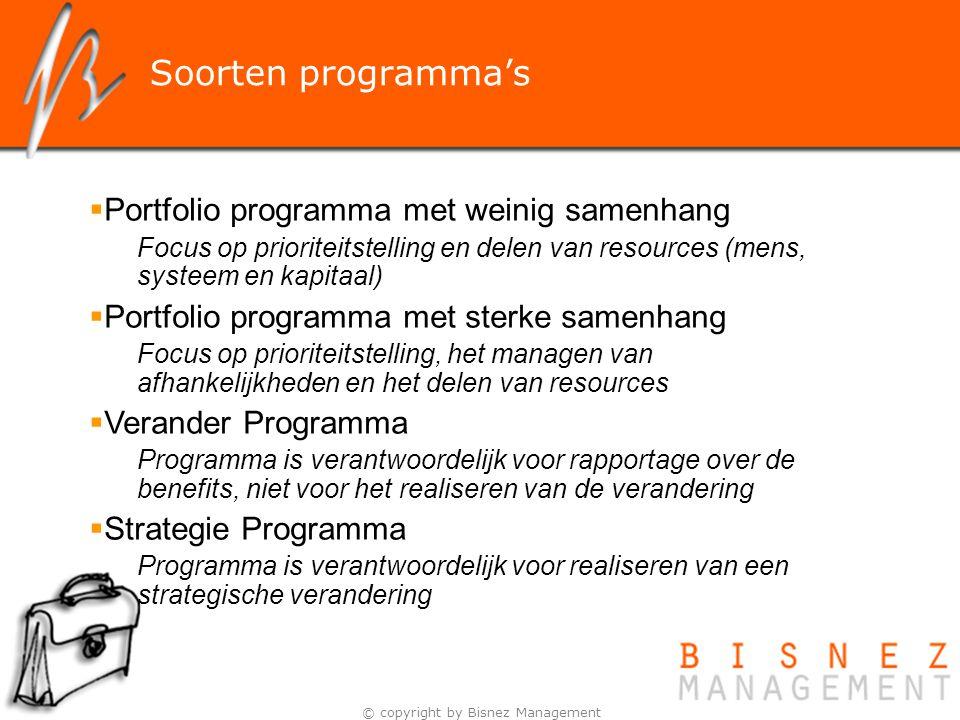 © copyright by Bisnez Management Soorten programma's  Portfolio programma met weinig samenhang Focus op prioriteitstelling en delen van resources (me