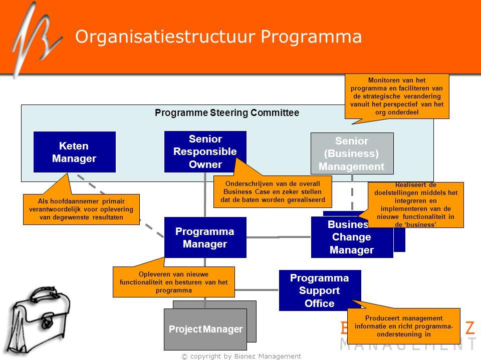 © copyright by Bisnez Management Organisatiestructuur Programma Programme Steering Committee Senior Responsible Owner Senior (Business) Management Pro
